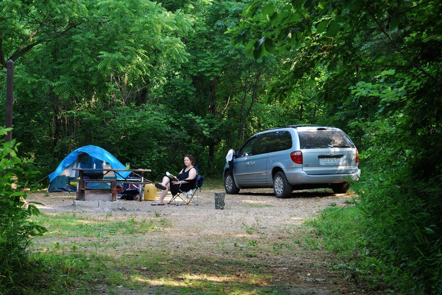 Photograph of a campsite at Blue Spring