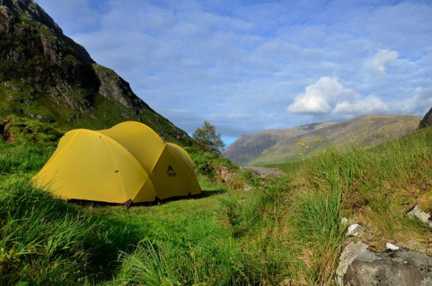 Mutha Hubba tent camped by the River Etive in Glen Etive scotland