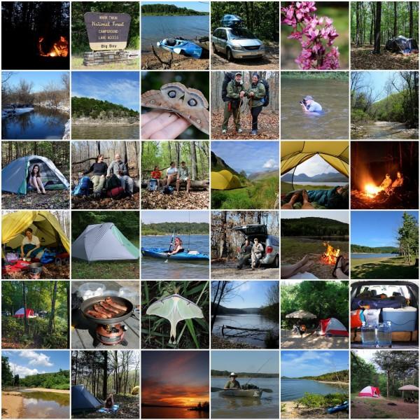 Mosaic of images of Gary and Ginger Allman camping, backpacking, and kayaking - Ozarks Walkabout