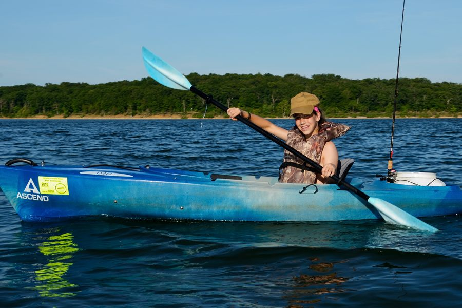 Photograph of 13 YO Lanie kayaking on Stockton Lake June 2012.