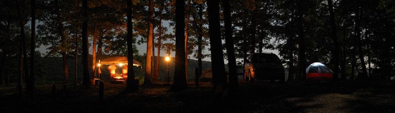 Pines Overlook Campsite at Night, Red Bluff Campground Davisville, Missouri