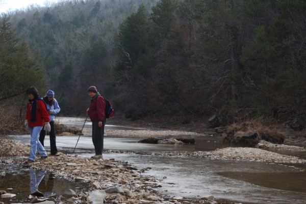 Hikers by Long Creek Hercules Glades Wilderness
