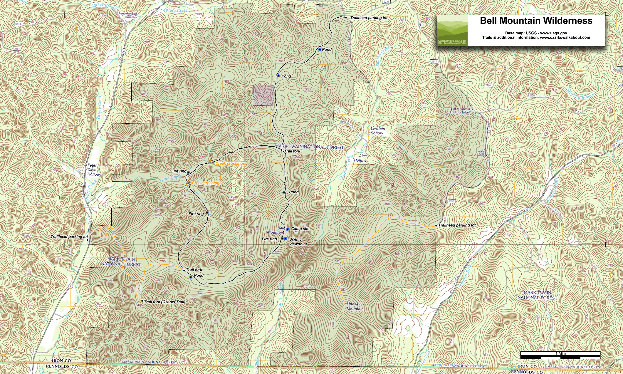 Trail Map: Bell Mountain Trail