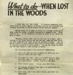 What to do when lost in the woods – 1946 Forest Service flyer