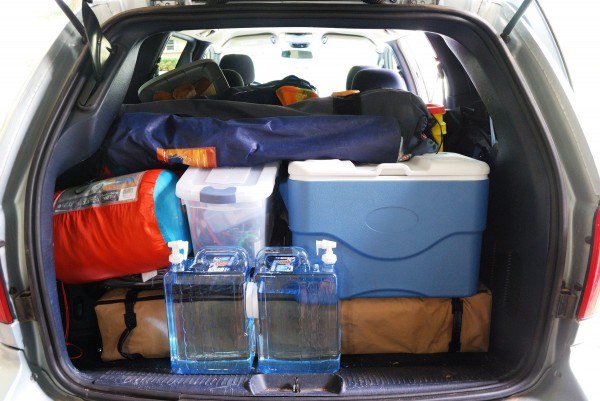 Chrysler Town and Country Minivan packed full of car camping gear - Ozarks Walkabout