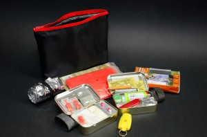 Photograph of the contents of a hiking emergency kit