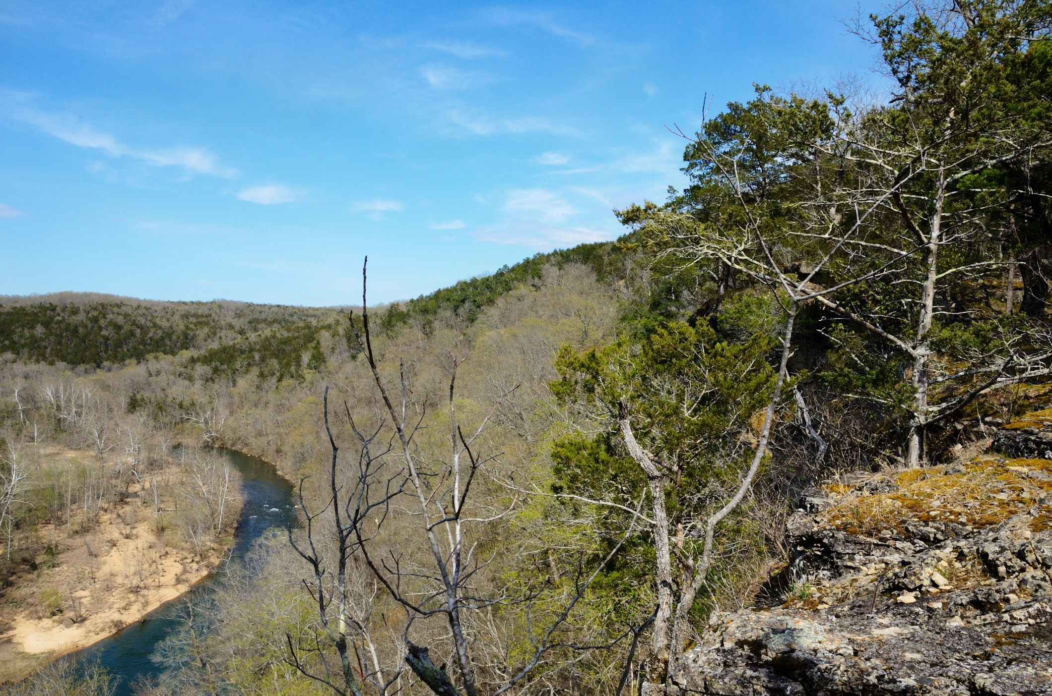 Backpacking in the Ozarks this weekend, we camped at the top of this bluff