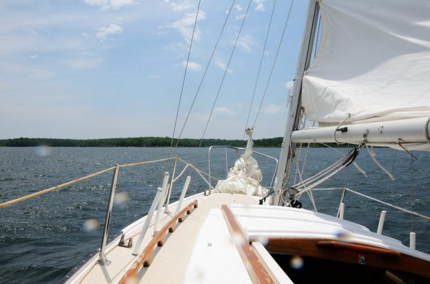 Photograph looking ahead on the sail boat Cornucopia