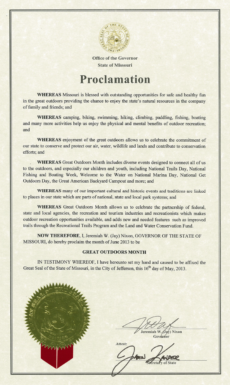The President joins all 50 States in proclaiming June 2013 as Great Outdoors Month