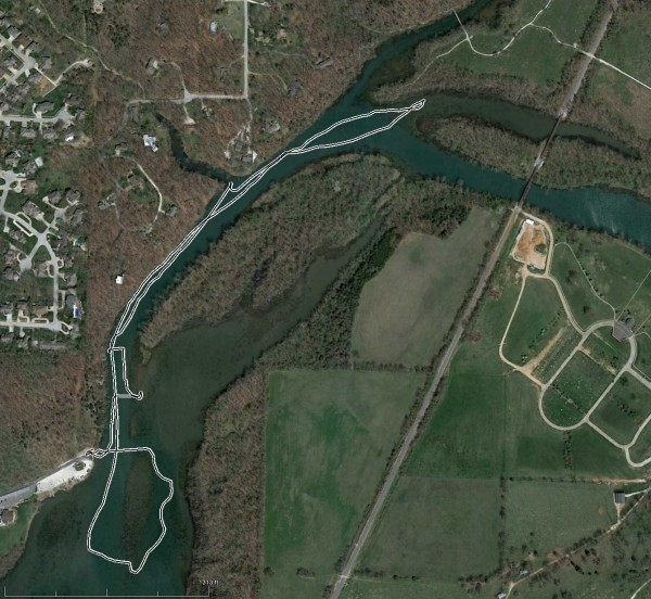 Kayaking trip GPS Track. www.ozarkswalkabout.com