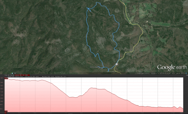 Pees Hollow Trail GPS track and elevation profile for the western side from the Tower Trailhead to Brushy Creek