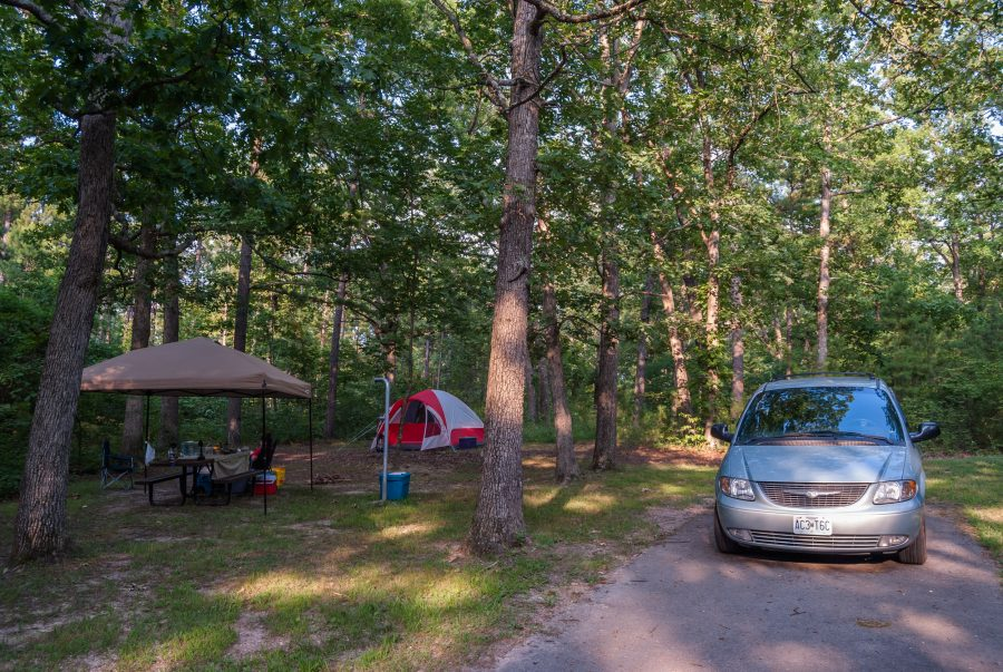 Coleman Tent, Gazebo, and minivan at a campsite at Berryman Trail and Campground - Mark Twain National Forest
