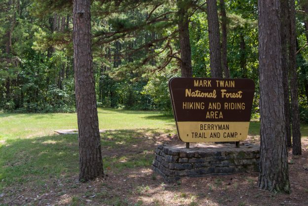 Mark Twain National Forest sign for Berryman Trail and Campground